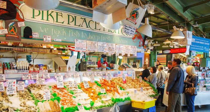 סיאטל: דוכן דגים בשוק . צילום Depositphotos