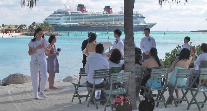 Castaway Cay: טקס נישואין תחת קבוצת עצי דקל . צילום עוזי בכר